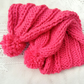 Child's Super Chunky Pink Wide Rib Scarf with Pom Pom, Children's Scarf