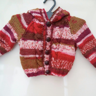 Baby's Hand Knitted Hooded Cabled Jacket, New Baby Gift, Baby Shower Gift