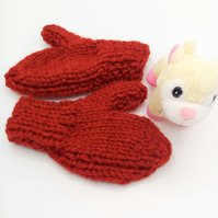 Super Chunky Mittens with Thumb for Children, Children's Knitted Mittens