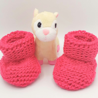 Pink Aran weight Booties for Baby, Boots for 0 - 6 Months, Baby Shower Gift