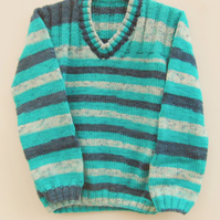 Child's Hand Knitted Unisex Jumper with Ribbed Yoke, Gift Ideas for Children