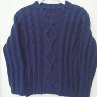 Children's Round Neck Jumper with Rib and Cable Pattern, Child's Knitted Jumper
