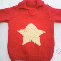 Chunky Classic Jumper for Babies and Children with a Star Pattern and a Collar