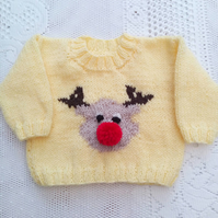 Hand Knitted Rudolf the Reindeer Novely Christmas Jumper for Babies and Children