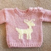 Novelty Round Neck Chunky Jumper with Deer Motif for Babies and Small Children