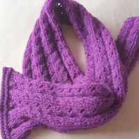 Aran Weight Lacy Knit Scarf for a Child, Child's Muffler, Children's Scarf
