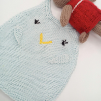 Hand Knitted Chirpy Bird Bib for a Baby, Baby Shower Gift, Baby Gift