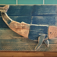 Blue Whale Drift-Wood Carved Picture