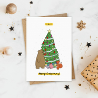 Big Bear Hug Personalised Christmas Card