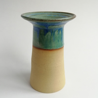 Handmade thrown stoneware pottery vase with broad rim in blue-green glaze