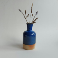 Beautiful handmade ceramic stoneware bottle bud vase sea blue glaze