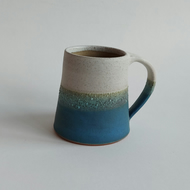 Handmade thrown stoneware pottery large mug sea blue green