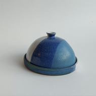 Handmade thrown stoneware pottery butter dish in white and blue glaze