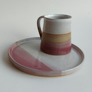 Beautiful handmade ceramic stoneware plate heather pink and white glaze