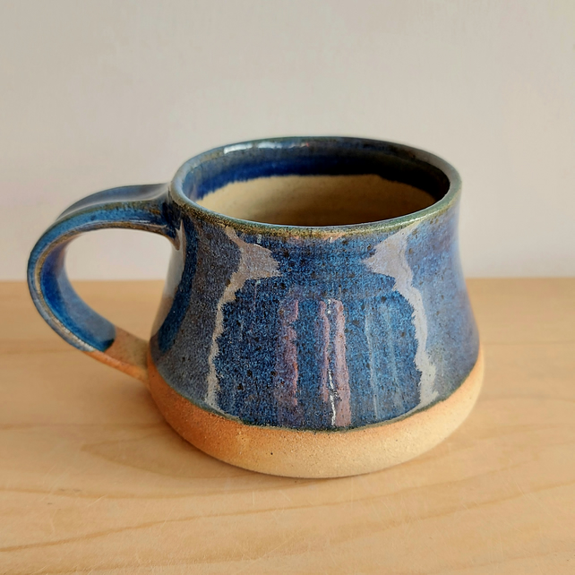 Beautiful medium handmade thrown stoneware pottery blue crystal glaze