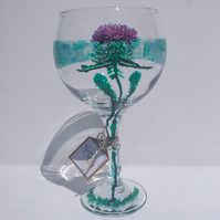 Scottish Thistle Gin Glass hand painted (can personalise)