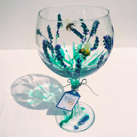 Lay-zsee Lavender, Hand Painted Gin Glass (Can personalise)