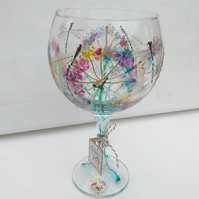 Dragonfly Dream, Hand Painted Gin Glass (Can personalise)
