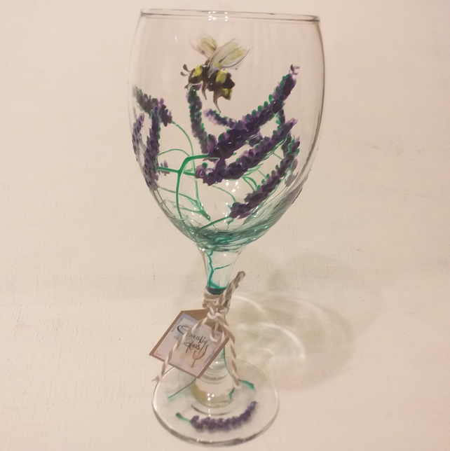 Lay-zzzeee  Lavender Wine Glass hand painted