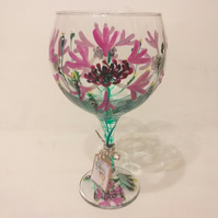 Mountain Dazzle Pink, Painted Gin Glass, Mountain Cornflower (Can personalise)