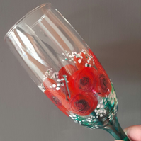 Wedding Bouquet Champagne Flute, Hand painted (can personalise)