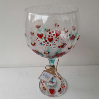 Valentine's, Strawberry Kisses, Hand Painted Gin Glass (Can personalise)