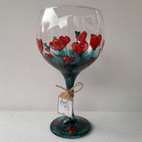 Valentine's, Hearts & Flowers, Hand Painted Gin Glass (Can personalise)