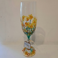 Tete a Tete, Daffodils, Champagne Flute, Hand painted (can personalise)