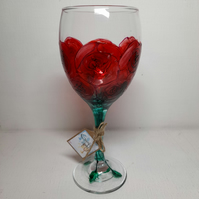 Valentine's, Hand painted Wine Glass (can personalise)