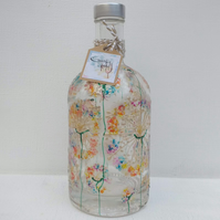 Alliums Ablaze Bottle Light Hand painted (can personalise)