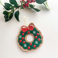 Christmas Wreath, Christmas Felt Hanging Ornaments, Christmas Tree Decorations