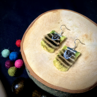 Bumble Bee Felt and Feather Earrings