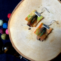 Tropical Felted Earrings