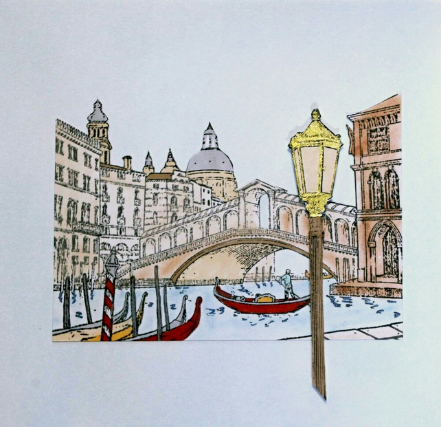 Venice Italy Rialto Bridge Coloured Handmade Blank Greeting Card