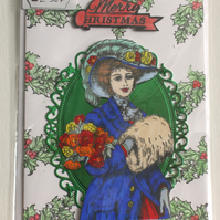MERRY CHRISTMAS ELEGANT LADY CHRISTMAS SEASONAL HANDMADE BLANK GREETING CARD
