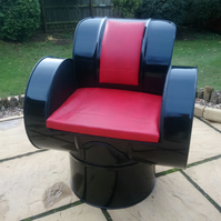 Oil Barrel Chair in Black and Red - Reclaimed Oil Drum Furniture