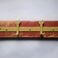 Handmade Spanner Coat Rack in Red and Yellow - Reclaimed Tools and Wood