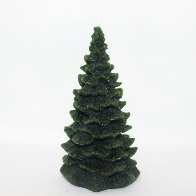 Christmas tree organic beeswax candle handmade in mid Wales - green