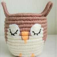 Owl Rope Coiled Storage Basket