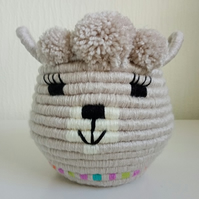 Llama Coiled Rope Storage Basket