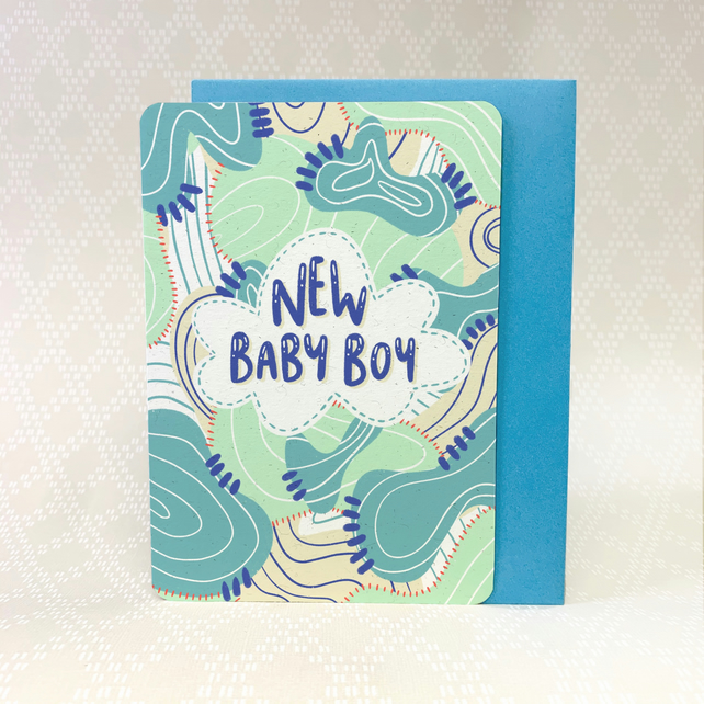 """New Baby Boy"" Greetings Card"