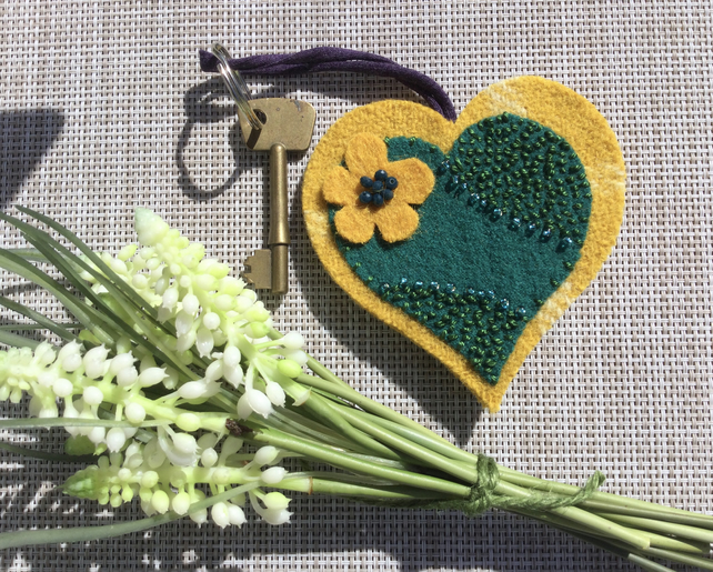 Recycled Wool Heart Keyring