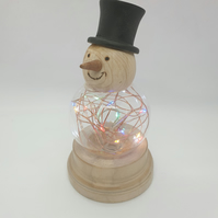 Small Light Up Wood Turned Snowman