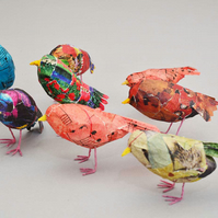 Teeny Tiny papier mâché birds in colourful plumage.