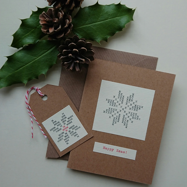 Happy Xmas card - typewritten snowflake - matching gift tag