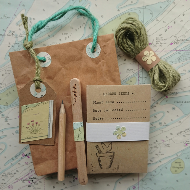 Gardener's Gift Set – Wooden labels, seed envelopes, twine & pencil - Coastal