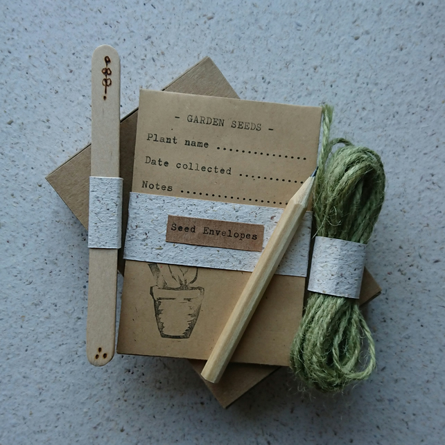 Wooden plant labels, seed envelopes, twine & mini pencil