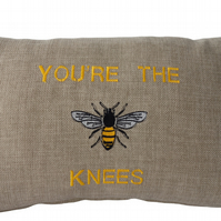 Embroidered Cushion, Throw Pillow, You're The Bees Knees design