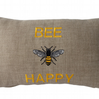 Embroidered Cushion, Throw Pillow, Bee Happy design