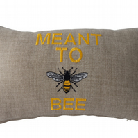 Embroidered Cushion, Throw Pillow, Meant To Bee design